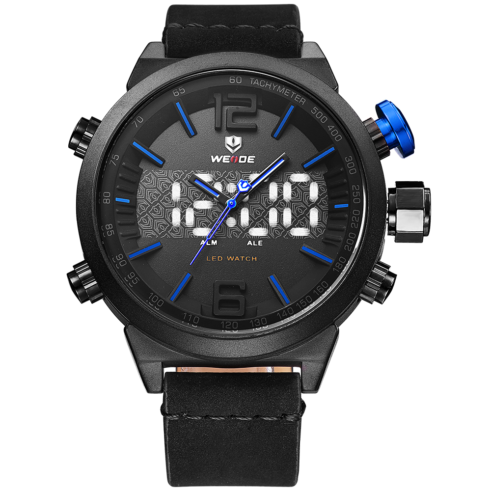 Weide casual genuine Brand Luxury watch Men Sports leather Watches LED Digital Quartz Watches analog water resistant alarm clock weide irregular men military analog digital led watch 3atm water resistant stainless steel bracelet multifunction sports watches