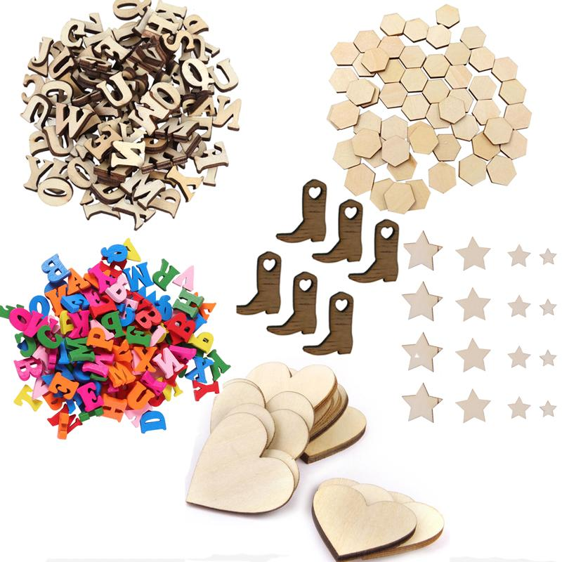 100PCS DIY Patchwork Scrapbooking Arts Crafts Unfinished Wooden Stars Cutout Discs Assortment For Birthday Wedding Display Decor