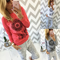 2017 Nuevos Casual Mujeres Camiseta Con Capucha de Manga Larga Ropa American Apparel Girasol Impreso Tapas de la camiseta de Las Mujeres camisetas