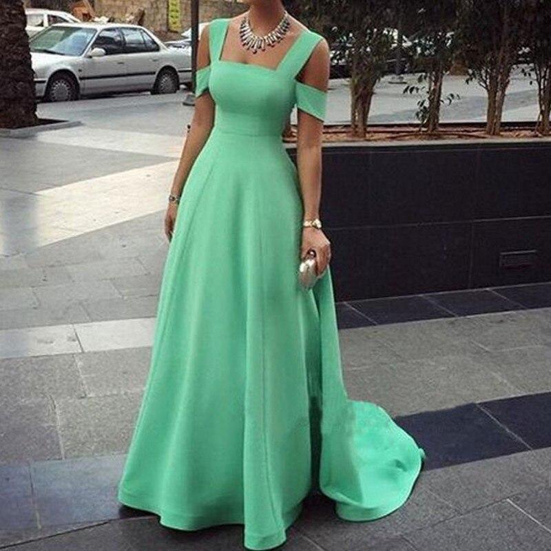 Un solo elemento Sexy verde fuera del hombro nueva llegada vestidos de graduación - 6