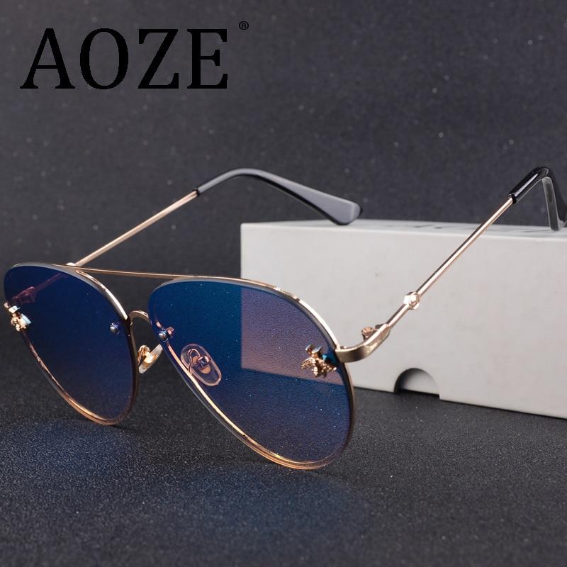 Luxury Brand Designer Female Rimless Sunglasses AViation Women Sun Glasses Gradient Shades Little Bee Lens Ladies UV400 Rays
