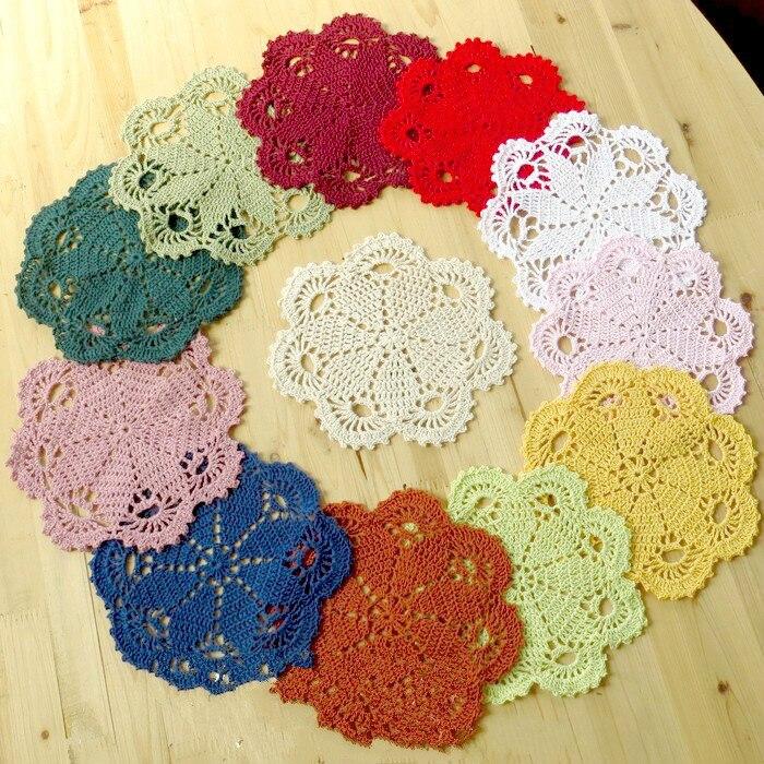 4Pcs//Lot Hand Crochet Cotton Doilies Black Vintage Lace Table Mat Party 10cm