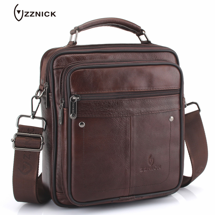 ZZNICK Brand 2018 New Men's Genuine Leather Business Bag Men Shoulder Bags Cross body Bag High Quality Male Handbags For Men zznick 2017 new men genuine leather messenger bag male cowhide leather cross body shoulder bag vintage men bags handbag