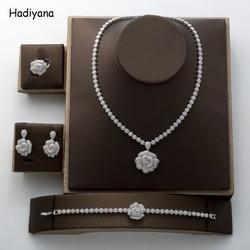 Hadiyana 2018 Fashion Rose Hanger Sieraden Set Nieuwe Charmante Zirconia Luxe Nachtclub Set Fabriek Groothandel TZ8070