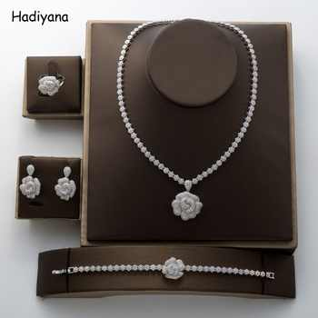 Hadiyana 2018 Fashion Rose Pendant Jewelry Set New Charming Cubic Zirconia Luxury Nightclub Set Factory Wholesale TZ8070 - DISCOUNT ITEM  50% OFF All Category
