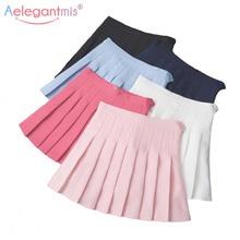 Aelegantmis Женская милая плиссированная юбка в стиле Лолиты с высокой талией, мини-юбки в стиле Харадзюку для девушек, летняя тонкая короткая юбка для школьной формы