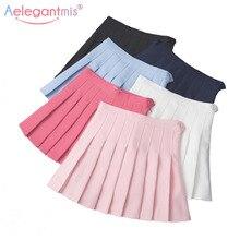 Aelegantmis Women Sweet Lolita High Waist Pleated Skirt Girls Harajuku Mini Skirts Lady Summer Slim Short School Uniform Skirt