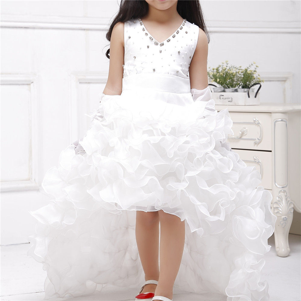 Azel 2017 Brand Train Formal Girl Dresses Children White Princess Vestidos Kids Clothes Of 4 5 6 7 8 9 10 11 12 Years SKF154024 azel 4 12t children party wear short front long back formal dress white princess wedding flower girl vestidos girls clothes