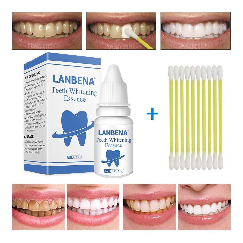 LANBENA 10ml Teeth Whitening Essence With Swabs Teeth Brightening Bleaching Serum Effect Remove Plaque Stain Oral Cleanser TSLM2(China)