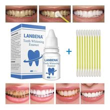 LANBENA 10ml Teeth Whitening Essence With Swabs Teeth Brightening Bleaching Serum Effect Remove Plaque Stain Oral Cleanser TSLM2