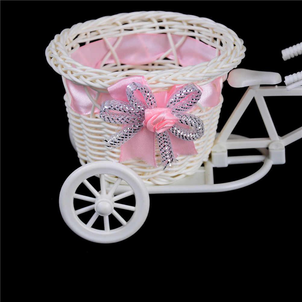 1Pc Galleggiante Pianta Vaso di Supporto Del Basamento Della Bicicletta di Stoccaggio BasketTricycle Bike Design Organizzatore Cesto di Fiori Vaso di Fiori Rattan
