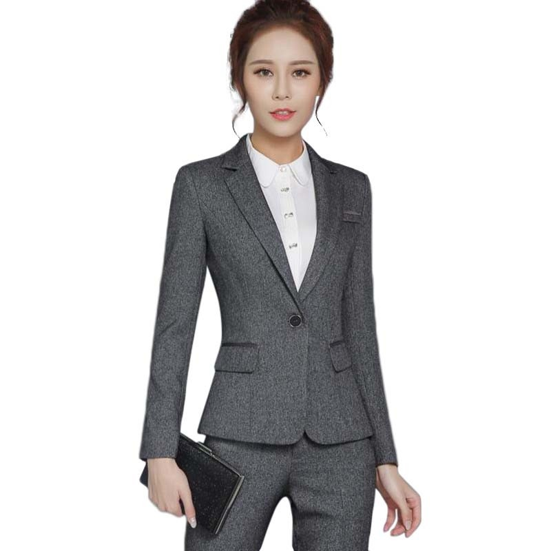 New Fashion women formal pants suits OL slim long-sleeve blazer with Trousers office ladies plus size work wear