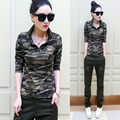 2015 new winter camouflage  long sleeve  Lapel slim female Korean uniform all-match POLO shirt tide