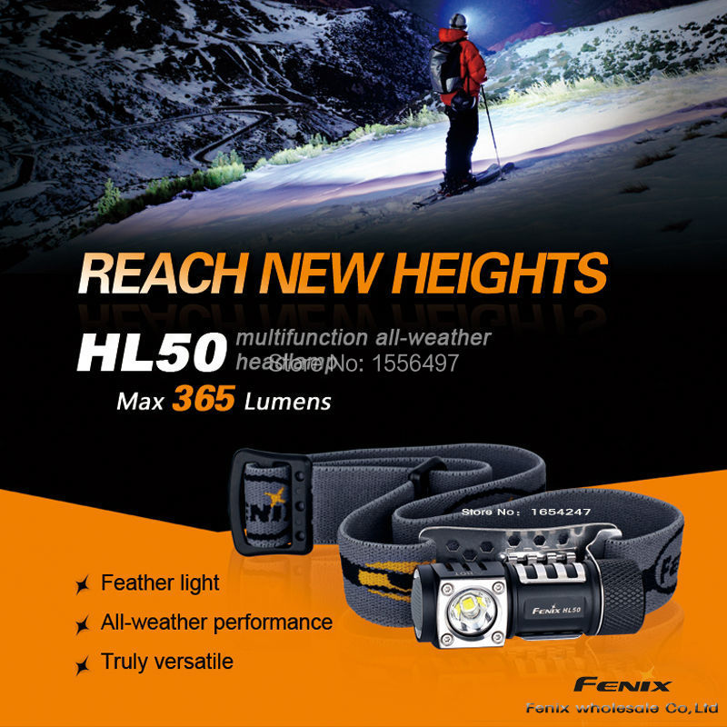 Free Shipping New Fenix HL50 XM-L2 T6 365 lumens 3 mode strong multi-purpose bald head lamp headlamp 1*AA/1*CR123A