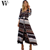 WYHHCJ 2017 New Bohemian Summer Dress Print V Neck Sexy Straight Long Beach Dress Plus Size