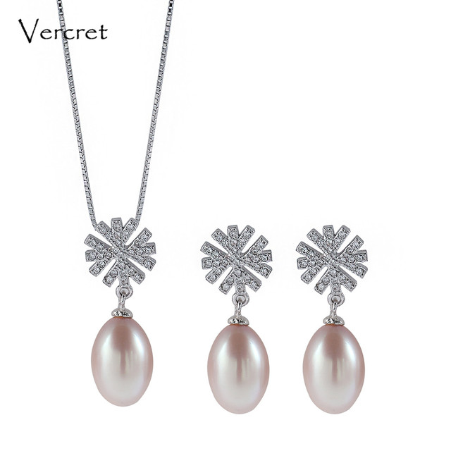 Vercret 925 Sterling Silver Snowflake Necklace Earring Set Oval Freshwater Pearl Pendant Chain Women Jewelry