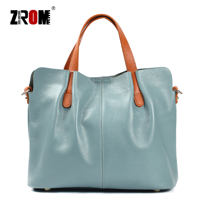 ZROM Brand Genuine Leather Women Handbag High Quality Fashion Ladies Shoulder Bag Solid Color Top handle