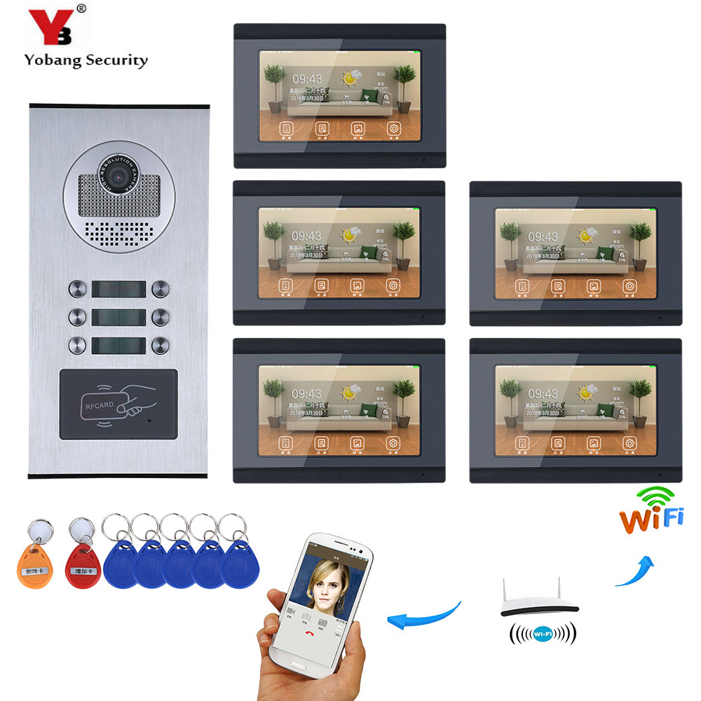 YobangSecurity 5 Units Apartment 7 Inch Monitor Wifi Wireless Video Door Phone Doorbell Intercom Camera KIT Video Recording APP yobangsecurity 5 units apartment video intercom 7 inch lcd wifi wireless video door phone doorbell video recording app control
