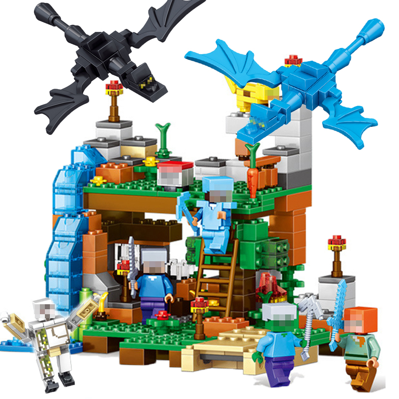 Minecraft Figures Toys 378pcs 4 In 1 Compatible City Building Blocks My World Bricks Set Educational Gifts Toys For Children #E minecraft 4 in 1 building blocks minecraft figures dragons toys steve zombie alex witch zombie skeleton compatible blocks e