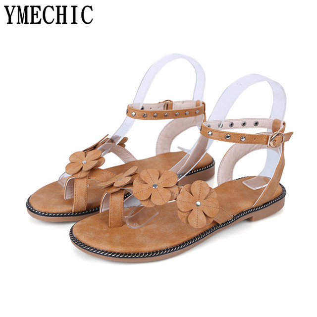 ad1b89f28d2 YMECHIC 2018 Green Black Flower Ankle Strap Rivet Flat Ladies Sandals Shoes  Woman Summer Beach Casual Office Party College Flats