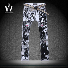 Korean High quality Skull jeans male colored drawing print pants made in china jeans trousers mens