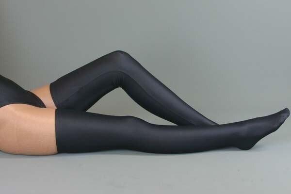 Mujer sexy trajes de la ropa interior de lycra negro mercerizado muslo calcetines altos traje para formadores