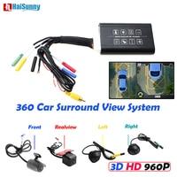 HaiSunny 360 автомобилей Surround View Системы Авто Bird View панорама Системы 4 Камера HD 960 P Видеорегистраторы для автомобилей Регистраторы 3D Парковочные