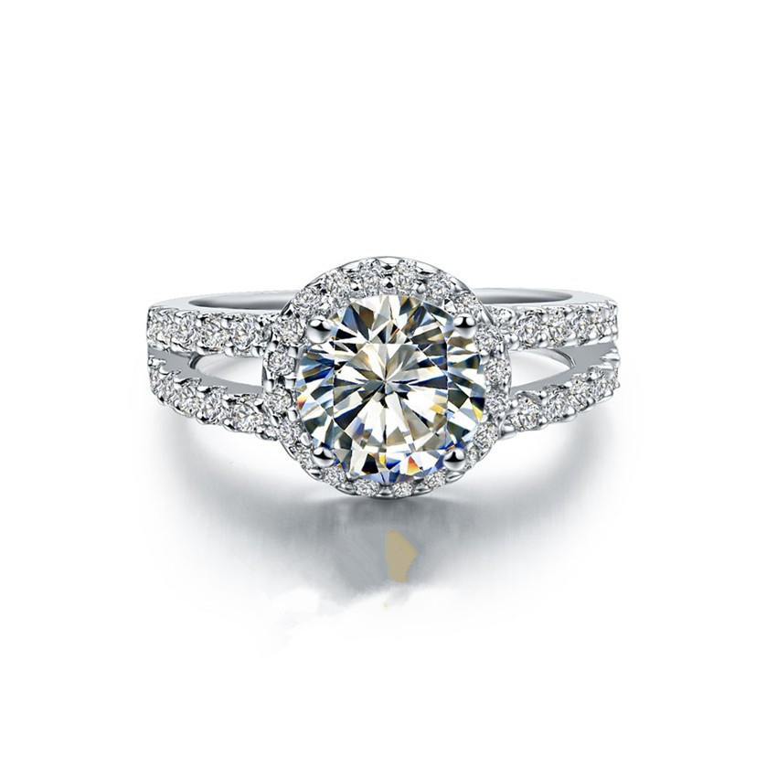 2CT Excellent Round Cut SONA Halo Round Diamond Ring Engagement Women Sterling Silver Jewelry 18K White