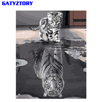 GATYZTORY Reflection Cat DIY Painting By Numbers Acrylic Paint On Canvas Modern Wall Art Picture Coloring