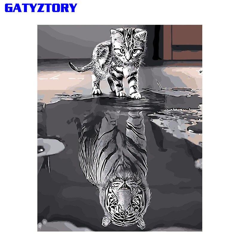 Gatyztory reflexión gato DIY pintura por números pintura de acrílico en la lona arte moderno de la pared cuadro por números Decoración para el hogar