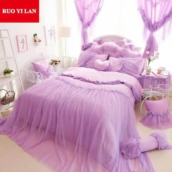 Butterfly Cotton Princess bedding set 4pcs Lace Ruffles duvet cover bedspread bedskirt bedclothes king queen Pink/Blue/Purple