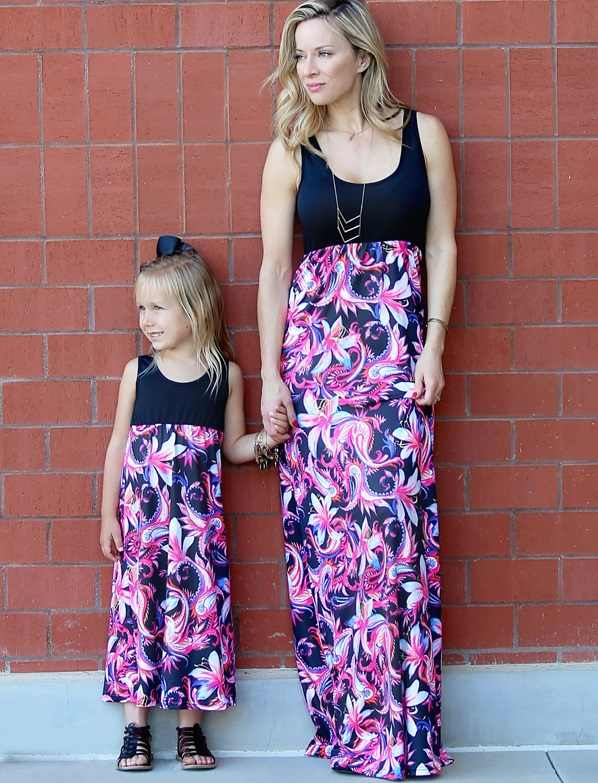 เอวสูงชุดเดรสลูกสาวครอบครัวดู Mommy และ Me ชุดแม่ Mama แม่ลูกสาวการจับคู่ชุดเสื้อผ้าฤดูร้อนเสื้อผ้า