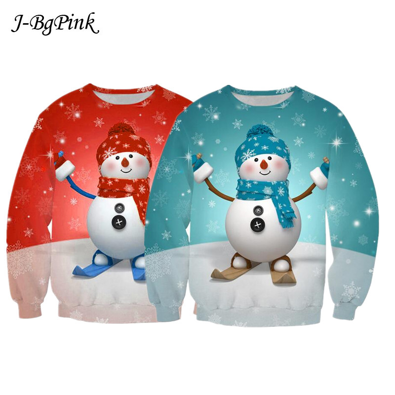 Christmas Sweater 3D Digital Print Pullover Christmas New Round Neck Long Sleeve Loose Large Size Couple Sweater