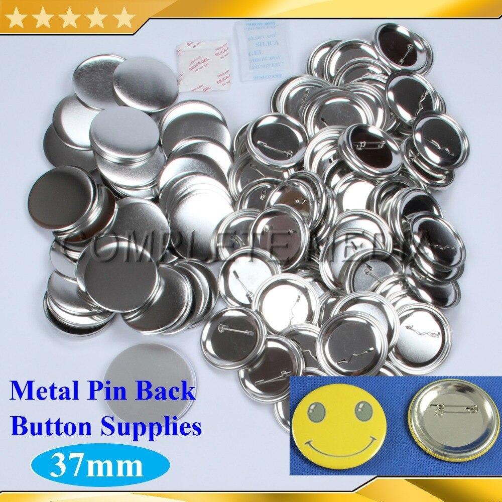 """1,000 ชุด 1 1/2 """"37 มม. กลับโลหะ Pinback ปุ่ม Supply วัสดุสำหรับ Professional Steel Badge ปุ่ม Maker-ใน ชิ้นส่วนกระดุมและตราสัญลักษณ์ จาก บ้านและสวน บน   1"""