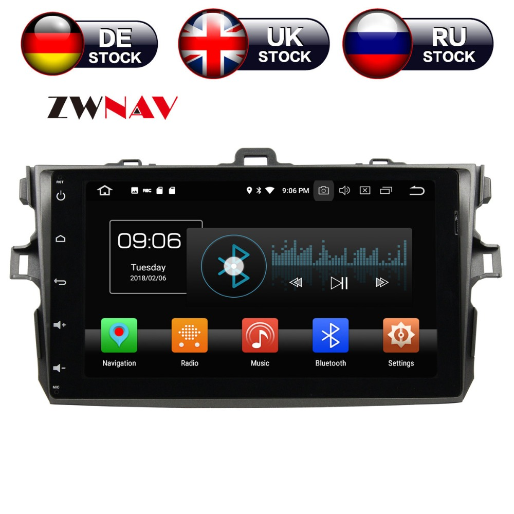 ZWNAV Android 8.0 9 Inch Car DVD Player GPS navigation For TOYOTA COROLLA 2006-2011 head unit multimedia player tape recorder цены