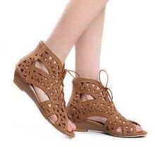 ขนาดใหญ่34-43แฟชั่นพิลึกลูกไม้ขึ้นรองเท้าแตะผู้หญิงเปิดนิ้วเท้าเวดจ์โบฮีเมียนรองเท้าซัมเมอร์บีชรองเท้าผู้หญิง