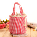 DUDINI Sweet Wave Point Pattern Lunch Bag Canvas Material String Cute Lunch Bags For Children Portable Carry Lunch Bags Women