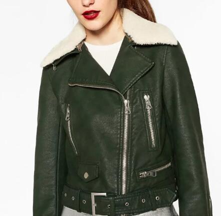 2016fw Fashion Woman Bottle Green Faux Leather Jacket With