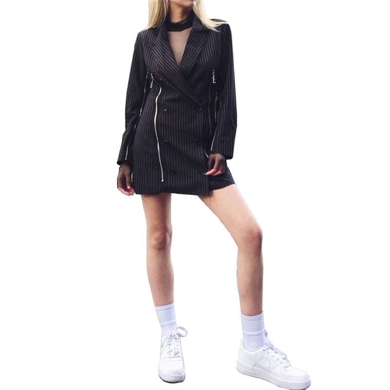 8aab5d2196a Women Striped Suit Jacket Minidress Zipper Decoration Double Breasted Hight  Quality Short Dress Female Elegant Fashion