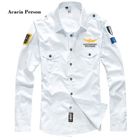 2018 Shirt Air Force One Men Shirt Long Sleeve Slim Fit Aeronautica Militare Men Dress Shirt