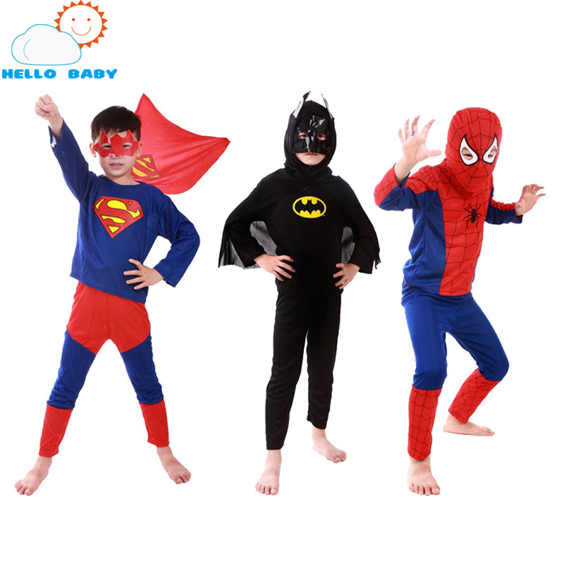 (Spiderman+Batman+Superman)/Lot Childrens Birthday Party Superhero Costumes Cloths Boys Children Superman Costume Cape For Kids
