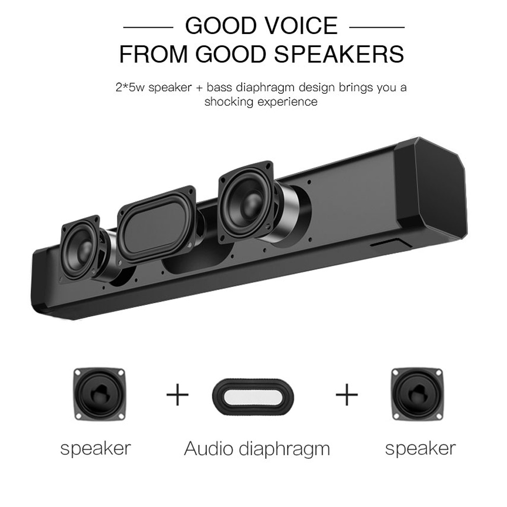 Image 5 - 10W TV Soundbar Bluetooth speaker FM Radio home theater system portable wireless subwoofer bass MP3 Music boombox-in Soundbar from Consumer Electronics