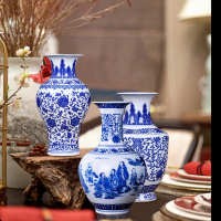 Jingdezhen Chinese Vintage Ceramic Blue and White Porcelain Tabletop Flowe Vase Home Living Room Crafts Decoration Family Gifts
