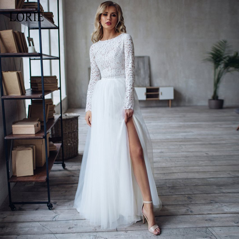 LORIE 2 Pieces A-Line Wedding Dress 2019 Lace Crop Top And Tulle Skirt With Slit Bride Dress ,Vestidos De Noivas Bridal Gown