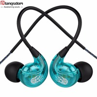 Langsdom SP90 Newest Sport Earphone Stereo Sound Surround Noise Isolation With Volume Control Mic Ear Hook