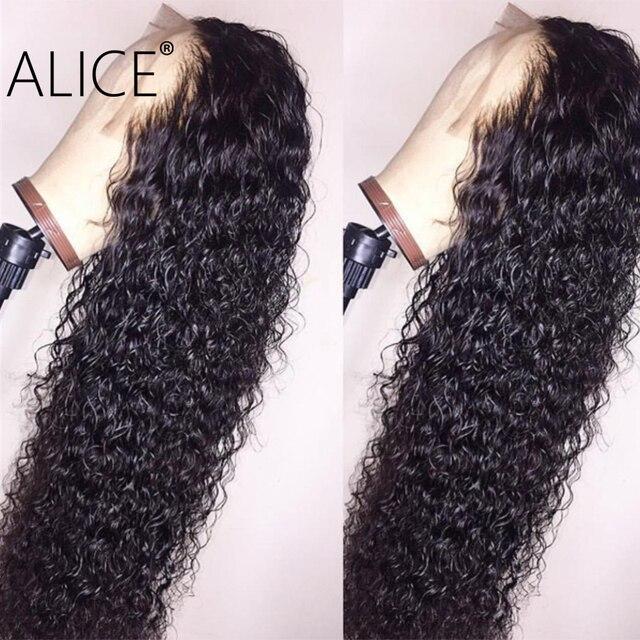 ALICE pelo humano rizado pelucas con minimechones 130% de encaje brasileño frente pelucas de cabello humano Pre arrancado de fuente pelucas 13x4 no remy