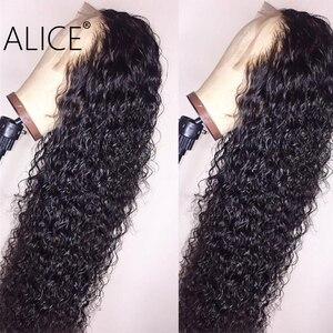 Image 2 - ALICE pelucas con minimechones de cabello humano rizado, 130% de encaje brasileño con frente, prearrancado, no remy, 13x4