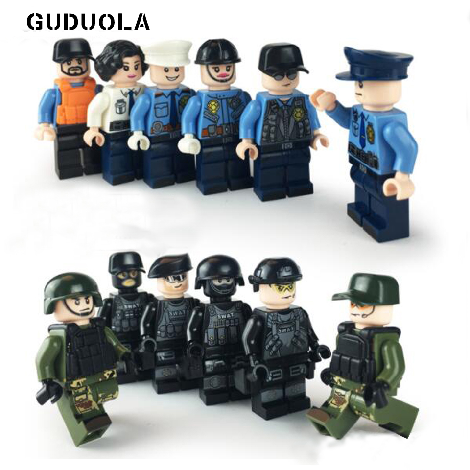Guduola 12pcs/lot Army Navy Air Force Figures Building Blocks Brick DIY Toys Compatible Legoing Figures Police military Soldier 樂高 海豹 部隊
