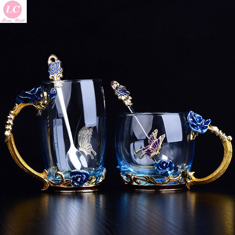 Water Bottle Beautiful Enamel Cup Glass Home Losch House Rose Teacup Suit Heat-resistant Creative Gift Water Bottle