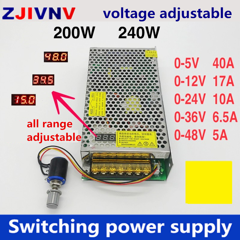 200w 240w smps Adjustable DC voltage Digital switching <font><b>power</b></font> <font><b>supply</b></font> 0-<font><b>5v</b></font> 12v 24v 36v 48v input 110v 220v ac/dc image